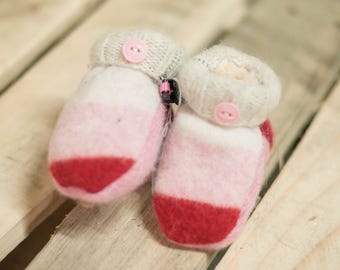 MITTENS Infant Size Small, Recycled Wool Handmade Mitten, Pink and Red with Tan accents with Angel Soft Lining. FREE SHIPPING!