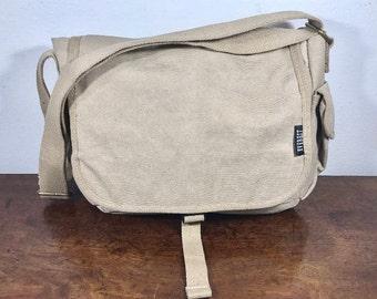 Tan Canvas Messenger Bag, Padded Laptop Bag, Shoulder Bag