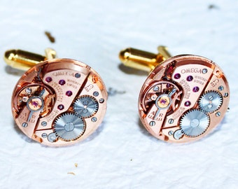 OMEGA Steampunk Cufflinks - Rare Rose Gold GENUINE OMEGA Luxury Swiss Watch Movement Men Steampunk Cufflinks Cuff Links Men Fathers Day Gift