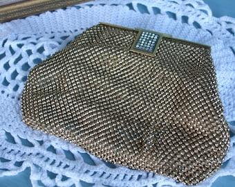 Clutch Gold Mesh Whiting Davis Clutch Repousse Vintage Evening Bag SALE