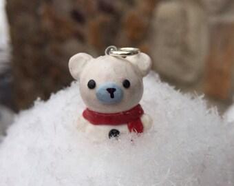 Kawaii polar bear weaing a red scarf necklace charm