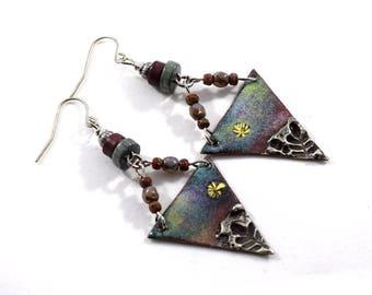 Handmade Earrings, Enamel Earrings, Colorful  Earrings, Artisan Earrings, Industrial Earrings, Boho Earrings, Silver Earrings - AE155