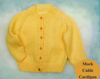 Baby Knitting Pattern, Toddler or Baby Cardigan Knitting Pattern, Mock Cable Baby Sweater Knit Pattern, INSTANT Download Pattern PDF (2315)