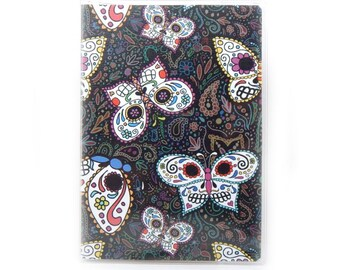 Passport cover - Sugar Skull Butterflies - calaveras passport holder - spooky cute day of the dead travel accessory - gift for traveler