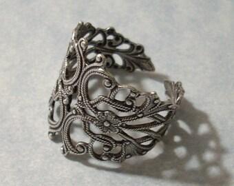 Adjustable Silver Filigree Ring, Silver Ring