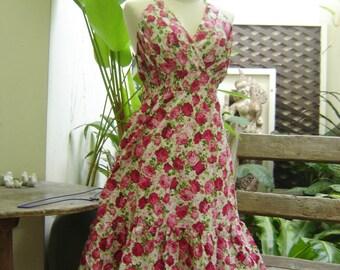 Floral Print Halter Cotton Dress - SK130503 PINK