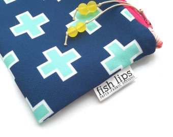 Navy Swiss Cross Eco Zipper Bag, Recycled Canvas Make Up Bag, Custom Geometric Pouch + Glass Bead Tassel, Handmade Pencil Case, Eco-Friendly