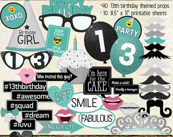 Photo Booth Props, HAPPY 13TH BIRTHDAY, girl, printable sheets, instant download, turquoise, black, silver
