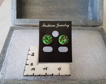 Green polymer clay donut earrings