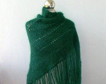 Green and silver sparkle hand knitted shawl with fringes