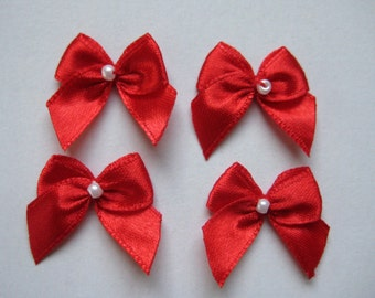Red Satin Ribbon Bows with Pearl Center for Christmas Bows, Wedding, Crafting, Sewing, Embellishment - 1 inch / 25 mm, 30 pieces
