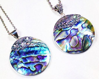 Abalone Necklaces With Filigree Sterling Silver Overlays, Handmade Jewelry By NorthCoastCottage Jewelry Design & Vintage Treasures