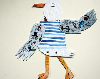 Tattoo seagull paper doll - Articulated paper sailor bird doll - DIY doll set