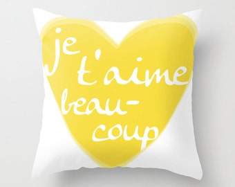 Je T'aime Pillow with insert Cover - Yellow Heart - Home Decor - Love - Valentines Day -  By Aldari Home