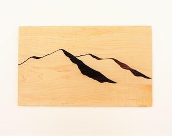 Mountain view wood cutting board /Maple, Black walnut/