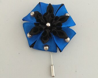 Blue and Black Kanzashi Flower Lapel Pin Men and Women.4