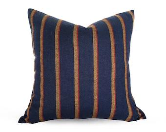 Dark Blue Pillows, Decorative Pillows, Striped Pillow, 20x20, Mens Throw Pillows, Wool Pillows, Blue Red Yellow, Blue Cushion Cover, Zippers