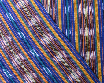 Guatemalan Ikat Fabric in Blues and Golds