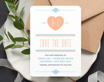 Folksy Boho 'Save the Date' Card / 'Lovestruck' Modern Wedding Engagement Card / Peach Light Blue / Custom Colours Available / ONE SAMPLE