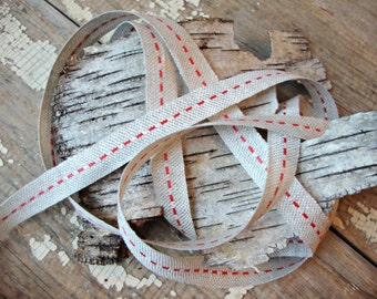 Natural Jute Red Center Stitch Ribbon