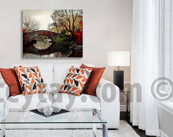 Large Canvas Art, Central Park, Travel Gift, Nature Photography Canvas Wall Art, Fall, Red, Brown, Rustic