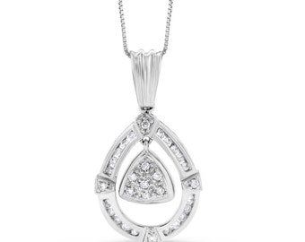 0.40 Ct. Natural Diamond Fashion Pear Tear Drop Pendant in Solid 14k White Gold
