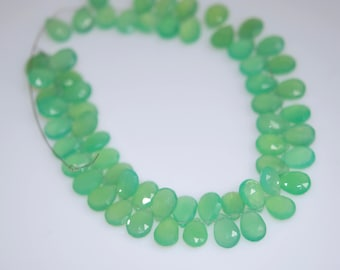Chrysoprase  colored chalcedony briolette pears  WHOLESALE PRICE 18.00