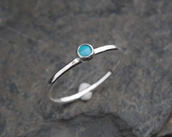 Turquoise Skinny sterling silver ring, hammered, 1.2 mm ring. Skinny ring, thin ring, stacking ring. December birthstone