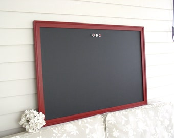 Decorative Wood Framed CHALKBOARD Extra Large Magnetic Board - 26.5 x 38.5 - Handmade Burgundy Frame Restaurant Kitchen Menu Wedding