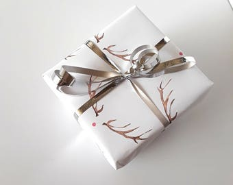 Red Nose Reindeer Gift Wrap - Wrapping Paper - Christmas
