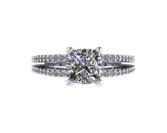 Classic Diamond Engagement Ring Forever Brilliant Cushion Cut Moissanite Engagement Ring 14K White Gold Ring Unique Engagement RIng -V1065