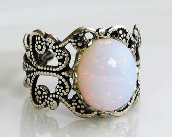 Antique Silver White Opal Ring, Glass Opal Ring, Filigree Opal Ring, Adjustable Rings, Mothers Day Gift, Opal Jewelry, October Birthstone