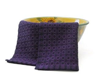 Purple and Navy Blue Tea Towel Cotton, Hand Woven Tea Towel Handwoven, Navy and Purple Tea Towel, Navy Kitchen Towel, Purple Kitchen Towel