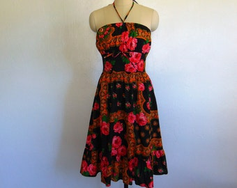 70s strapless SUNDRESS roses floral size small