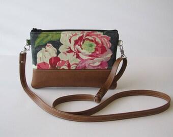 Crossbody Bag, Crossbody Clutch, Vegan Crossbody Purse, Clip on Crossbody Strap,Crossbody Wallet, Floral Crossbody Bag