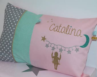 Pink, green and gold, personalized cushion 30 x 50 to order