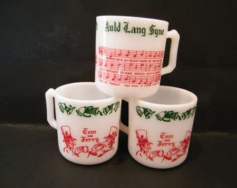 3 Auld Lang Syne Tom and Jerry Punch Mugs, Vintage Hazel Atlas milk glass cups with song lyrics and design of men in top hats, green bells