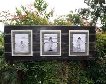 Wood plank frame; wooden plank frame, plank wall art, distressed, triple 5x7 or 4x6 photos; Black, ivory, and grey;