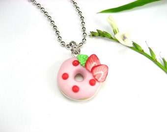 Strawberry Donut Necklace - food jewelry , food necklace