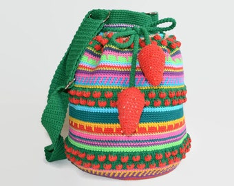 Oversized Crochet Mochilla Strawberries Bag - Summer Festival Shoulder Boho Purse - Large Crochet Tote - Shoulder Market Bag ItWasYarn