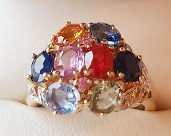 Multicolored sapphire gold diamond ring