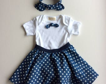 Baby girl's clothes, toddler outfit, retro baby clothes, baby girl bodysuit outfit, blue spotty skirt, girl's bodysuit, hairband, toddler