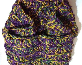 Crocheted Mardi Gras Colors XL Cowl Scarf