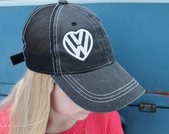 VW Love Baseball Hat.  Un-Structured front with embroidered VW Heart design.  Mesh back with classic velcro clasp.