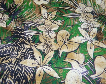 Hawaiian Print Fabric - Brown, Tan and Green Floral Hawaiian Print Cotton Fabric