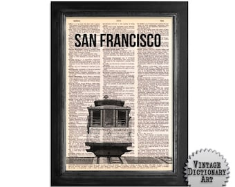 San Francisco Cable Car Art Print - printed on Recycled Vintage Dictionary Paper - 8x10.5