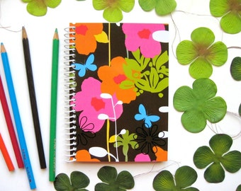 Flowers Notebook A6 Spiral Bound - Spring, Back to School, Blank Sketchbook, Writing Journal, Draft, Pocket Journal, Small, Gifts Under 20