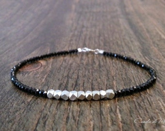 Black spinel and Hill tribe silver Bracelet. Fine silver and black spinel bracelet. Solid silver and black spinel bracelet. Chic bracelet