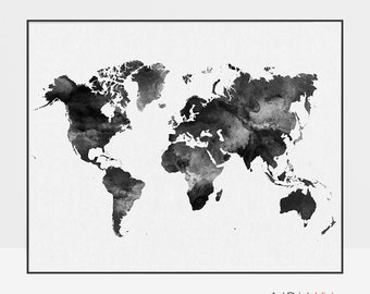 World map poster, World map art watercolor print, World map wall art, Travel Map, Large world map, black & white, gift decor, ArtPrintsVicky