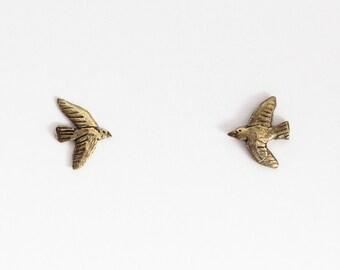 Golden tiny bird studs